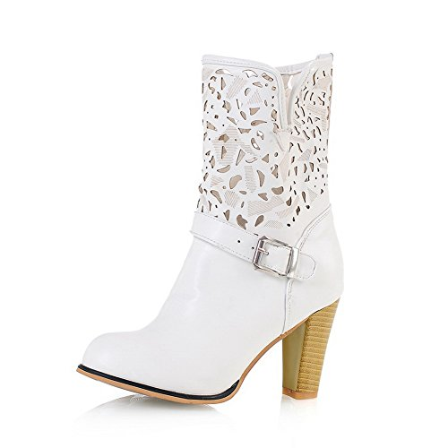 1TO9 Girls Pull-On Wheeled Heel Shoes Buckle Imitated Leather Boots White KsO9lvptld