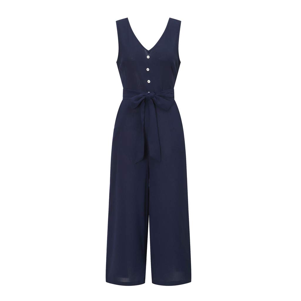 Pervobs Women Sleeveless V-Neck Backless Solid Button High Waisted Wide Leg Jumpsuit Casual Loose Beach Playsuits(XL, Navy) by Pervobs Women Pants (Image #6)