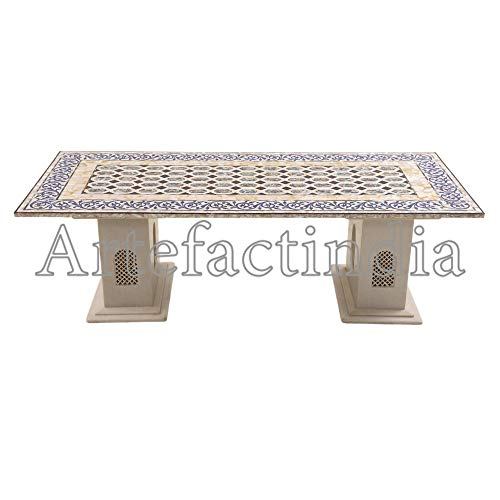 - Artefactindia White Marble Mosaic/Pietra Dura Work Coffee Table for Home Furniture/Dinning Table 24