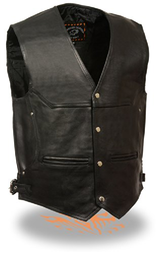 [Milwaukee Men's Deep Pocket Leather Vest (Black, X-Large)] (Milwaukee Harley Davidson)