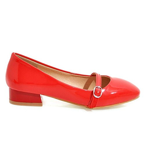 Red Closed Heel Block Pumps Shoes Women Buckle RizaBina Fashion Party Dress Toe With 4fwqfO17