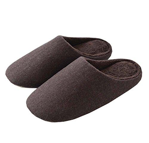Women's Comfort Cotton Slip on House Slippers Lightweight Indoor Slippers,Brown