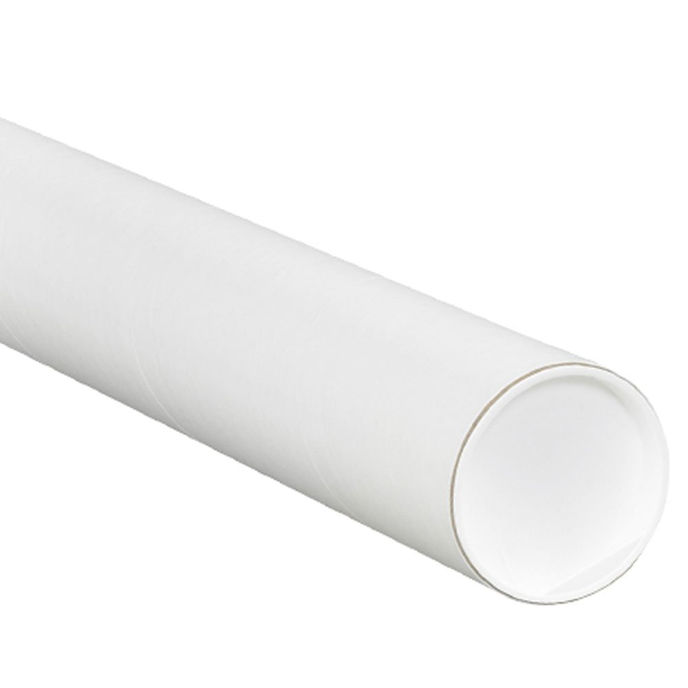 Aviditi P3042W Mailing Tubes with Caps, 3'' x 42'', White (Pack of 24)