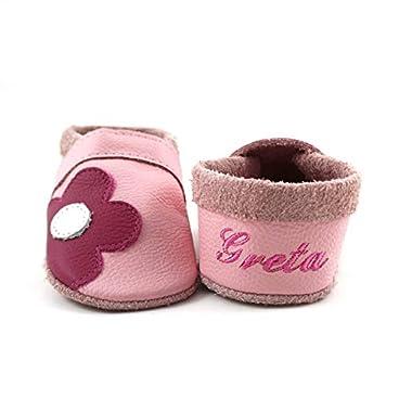 Krabbelschuhe Babyschuhe Lauflernschuhe mit Namensstickerei und Einlagen Blume weiches Leder rosa