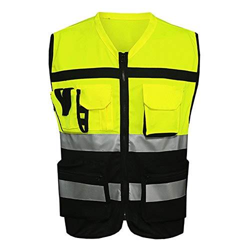 TXYFYP Signaal kleur jack veiligheidsvest reflecterend vest motorfiets fietsen kleding – zwart en geel, L