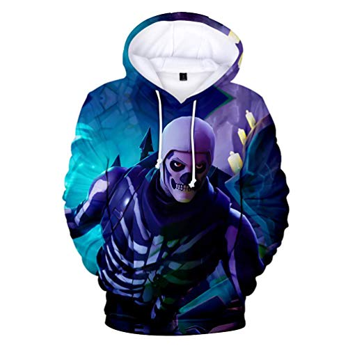 Fabby Unisex 3D Printed Hoodies Sweatshirt with Pockets (X-Small, Skull) -