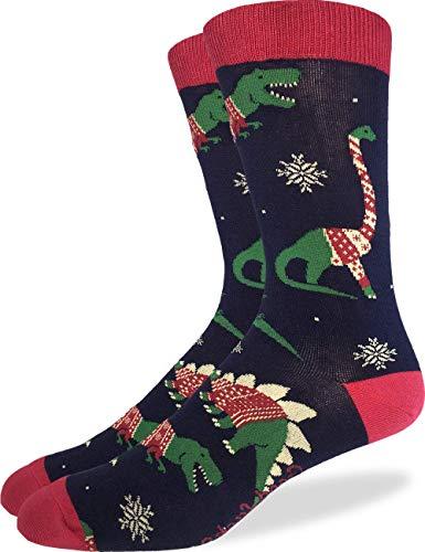 (Good Luck Sock Men's Christmas Sweater Dinosaurs Socks - Blue, Shoe Size)