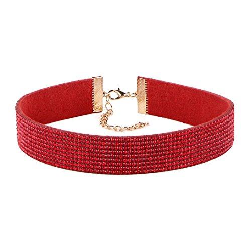 Molyveva Women Choker Velvet Ribbon Collar Classic Rhinestone Necklace Extender Chain Adjustable Neck (Red)