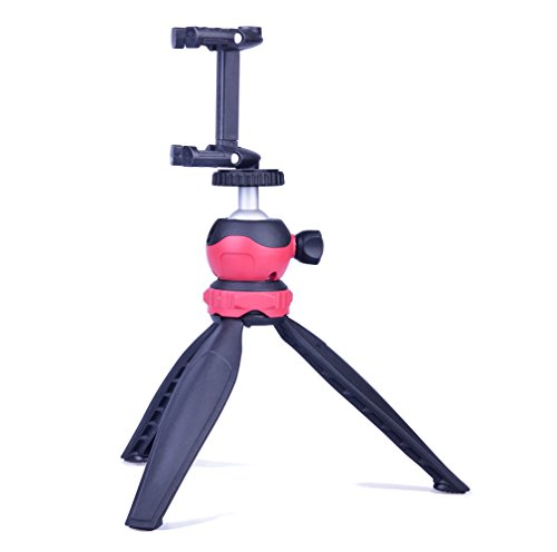 DAYOOH Mini Tripod with Cell Phone Clip Holder for iPhone - Lightweight Tripod Stand with Swivel Ball Head for DSLR Camera Cellphone Gopro,Black,Red