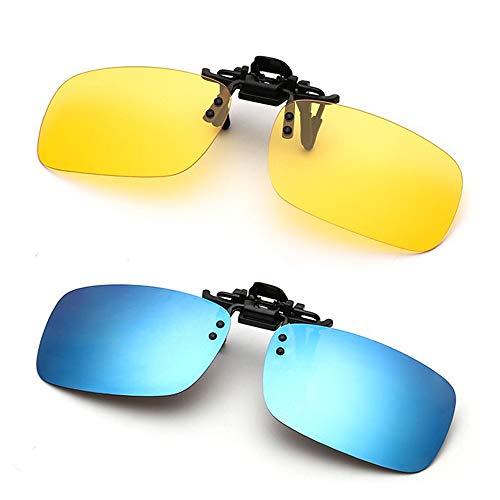 Clip on Sunglasses Unisex Polarized Frameless Rectangle Lens Flip up Clip on Prescription Sunglasses Eyeglass Night Driving Glasses(Driving Glasses & Blue)