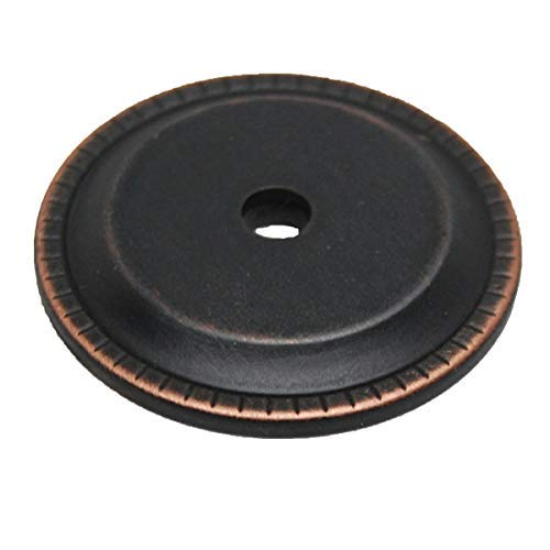 (LIBERTY HARDWARE Oil Rubbed Bronze with Copper Highlights Ribbed Edges Backplate/Back Plate for Knobs P33486C-VBC-C - Designer Hardware - The Knob)
