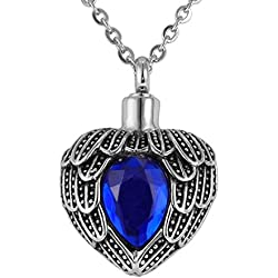 Valyria Memorial Jewelry Angel Wing Birthstone Necklace Urn Keepsake Cremation Ashes Pendant,Sapphire(September)
