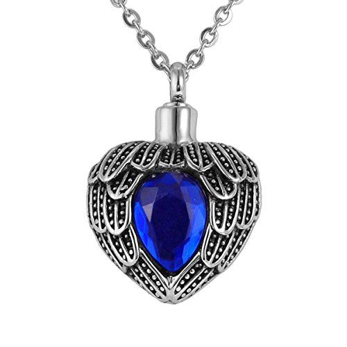 Valyria Memorial Jewelry Angel Wing Birthstone Necklace Urn Keepsake Cremation Ashes Pendant,Sapphire(September) -
