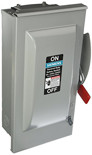 SIEMENS GF222NR 60 Amp, 2 Pole, 240-Volt, 3 Wire, Fused, General Duty, Outdoor Rated by Siemens