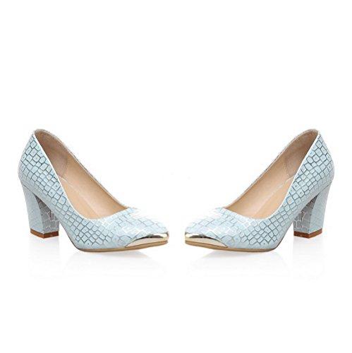 AllhqFashion Damen Ziehen auf Spitz Zehe Hoher Absatz PU Gemischte Farbe Pumps Schuhe Blau