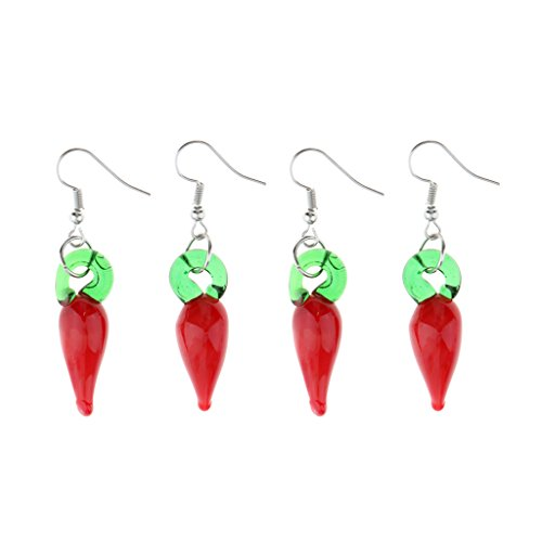 (MonkeyJack 2 Pairs Lampwork Glass Chili Pepper Dangle Earring Statement Earring Jewelry)