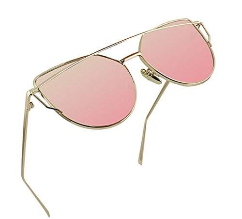 Women Fashion Twin-Beams Classic Metal Frame Mirror Sunglasses (Rose Gold)