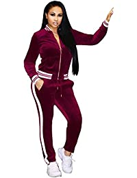 Women's Casual 2 Pieces Outfits Velour Long Sleeve Zip Up Jacket + Long Pants Sweat Suit Set Tracksuit With Pockets