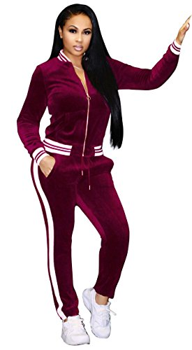 Felicity Young Women's Athletic Soft Velour Velvet Long Sleeve Zip Up Sweatshirt Jacket and Bodycon Sweat Pants Set Tracksuit Wine Red, X-Large (Jogging Velour Suit)