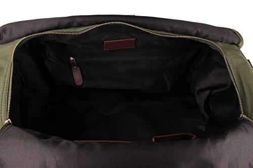 Viosi Balboa Leather Waxed Canvas Weekender Duffel Bag with Matching Toiletry Bag [Hunter Green] by Viosi (Image #5)