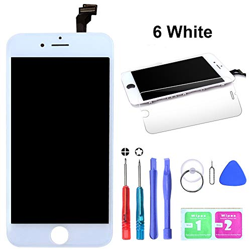 LYESS Screen Replacement Compatible for iPhone 6 White 4.7 inch LCD - Compatible for iPhone 6 LCD Touch Screen Display Repair Kit Assembly with Complete Repair Tools Including Free Screen Protector by LYESS