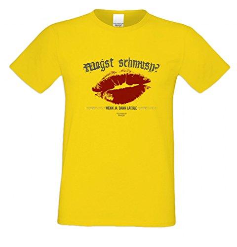 T-Shirt mit Motiv - Mogst schmusn - Lustiges Outfit als Geschenk passend zu Oktoberfest + Wiesn + Volksfest in Gelb