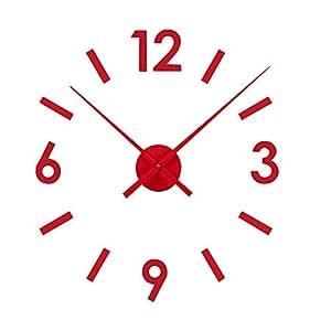 Versa 16660122 Reloj de pared adhesivo Rojo Pegatina, Dimensiones regulables: Amazon.es: Hogar