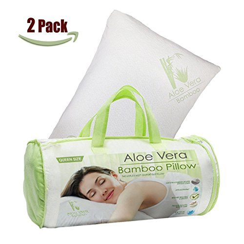 Homelux Comfortable Hypoallergenic Aloe Vera Bamboo Pillow with Memory Foam, King Size - SET OF 2! Aloe Vera Pillow