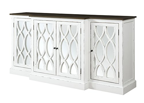 Emerald Home Mountain Retreat Dark Mocha and Antique White Buffet with Seven Hidden Drawers, Plank Style Top, And Mirror Detailing