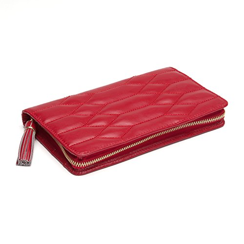 WOLF Caroline Jewelry Portfolio, 5x8.5x1.25, Red (Jewelry Leather Roll)