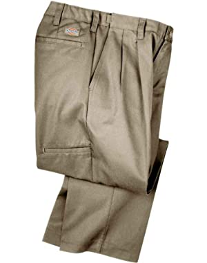 Industrial Pleated Front Comfort Waist Pant, Khaki, 48W x 37UUL