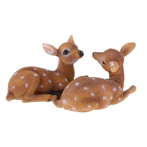 Fityle Realistic Animals Garden Ornament Decor Lifelike Sika Deer Resin Crafts