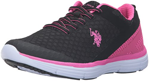 U.S. Polo Assn.(Women's) Women's Ari Fashion Sneaker, Black/Fuchsia, 8.5 M US