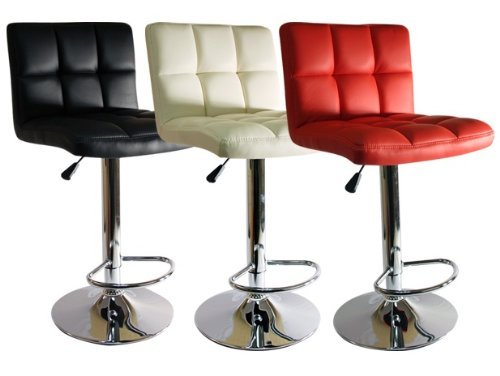 NEW FAUX LEATHER KITCHEN BREAKFAST BAR STOOL BARSTOOLS BLACK CREAM
