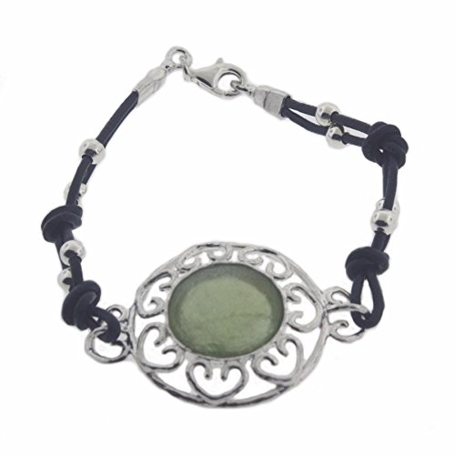 Ancient Roman Glass Bracelet with Heart Design Sterling Silver and Dark Blue Cord
