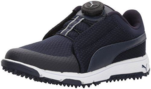 PUMA Golf Boys' Grip Sport Kid's Disc Golf Shoe Peacoat/Quarry, 6 Youth US Big