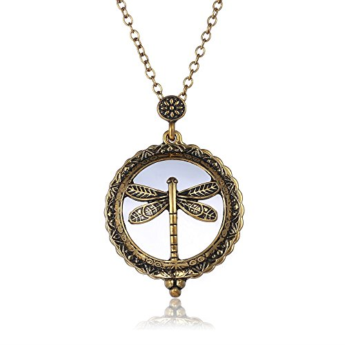 Vintage Style Pendant Necklace Antique Gold Chain Magnifying Glass Animal Dragonfly Design Pendant Necklace ()