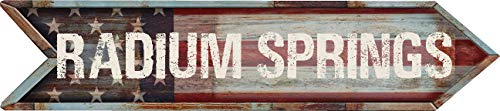 """Any and All Graphics Radium Springs 4""""x18"""" American Flag Arrow Shaped Rustic Antique Vintage Look Composite Aluminum Novelty décor Sign."""