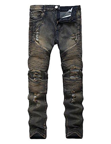 Men's Runway Ripped Distressed Skinny Moto Biker Jeans (Runway Clothes)