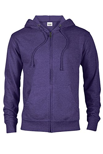 (Casual Garb Hoodies for Men Heather French Terry Full Zip Hoodie Hooded Sweatshirt Purple Heather Medium)