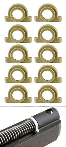 Ultimate Arms Gear Pack of 10 FDE Flat Dark Earth Tan Recoil Impact Cushion Shock Absorber For Glock Pistol Models : 17, 17L, 18, 19, 20, 21, 22, 23, 24, 24C, 31, 32, and - Plug Spring Recoil