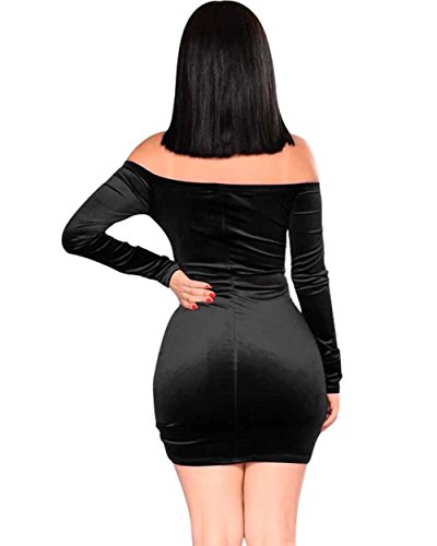 Bodycon Adogirl Shoulder Sexy Long Velvet Sleeve Mini Ruched Black Dress Women's Off 1xw18rq4X