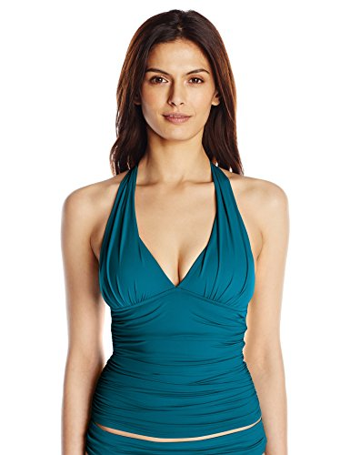 La Blanca Women's Island Goddess Rouched Front Halter Tankini Swimsuit Top, Marina, - Lycra Dress Bandeau