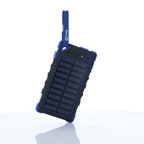 - Corona 8,000 mAh Solar Powered Battery Bank- Black/Blue