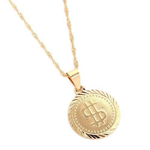18K Gold Plated United States Dollar Money Sign Pendant Necklace (Round Style) ()