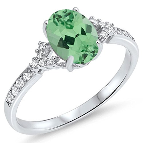 925 Sterling Silver Faceted Natural Genuine Green Emerald Oval Ring Size 7 ()