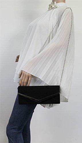 Clutch Wedding SwankySwans Suede Prom Black Party Bag Womens Envelope Ladies Talia YATY8
