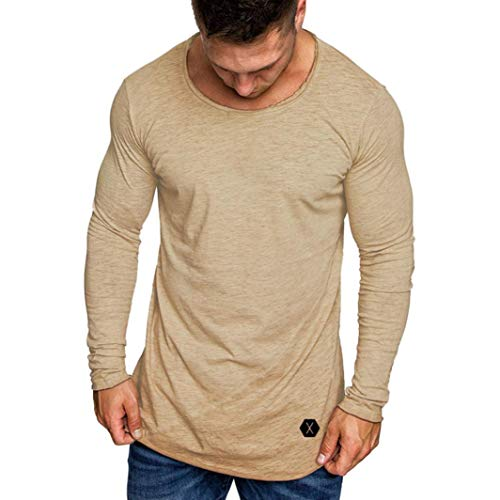 - Clearance Mens Fashion Casual Slim Fit Muscle Long Sleeve T Shirt - vermers Mens Leisure Solid O-Neck Tops Blouse(2XL, Beige)
