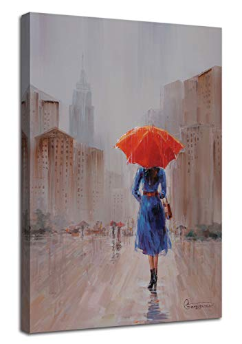 Canvas Wall Art New York City Painting Red Umbrella Lady Walking in The Rain Romantic Street Scenery, Modern Cityscape 24