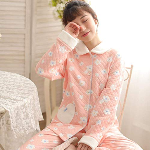 Mujer Pijama Invierno Ropa Termica Espesar Pink Pijamas Larga Pantalones Clásico Hogar Florales Para Conjunto Cómodo Mujeres De El Manga Noche Y10wqY